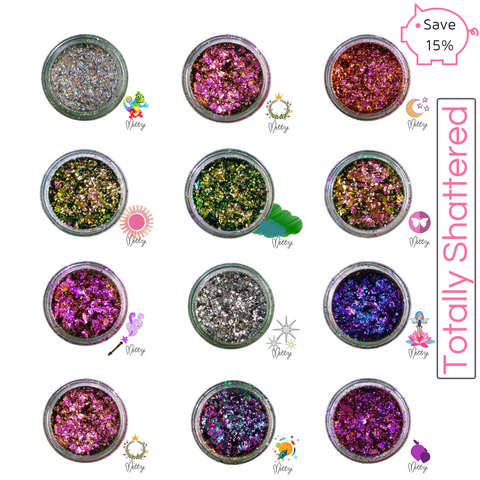 A collection of our Mitty Shattered Nail Art Powders Plus a FREE Pro-Fan...