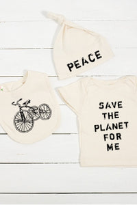 Save The Planet For Me Infant Organic Cotton T Shirt, Hat, and Bib Set