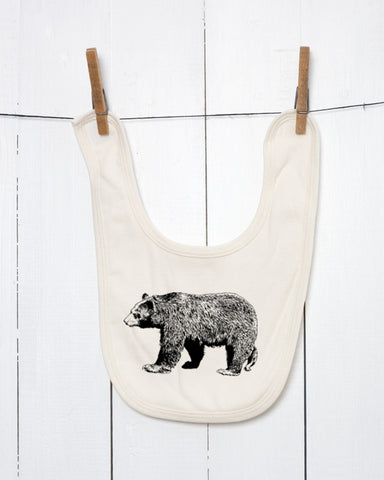 Black Bear Organic Cotton Baby Bib