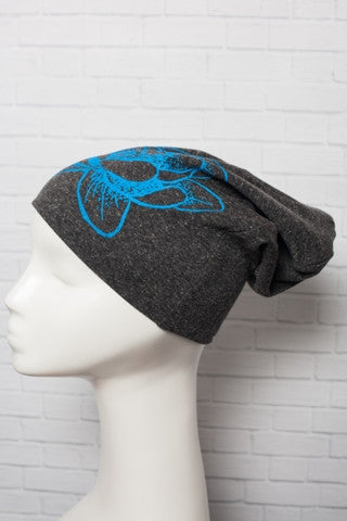 Lotus Screen Printed Knit Beanie Slouch Hat