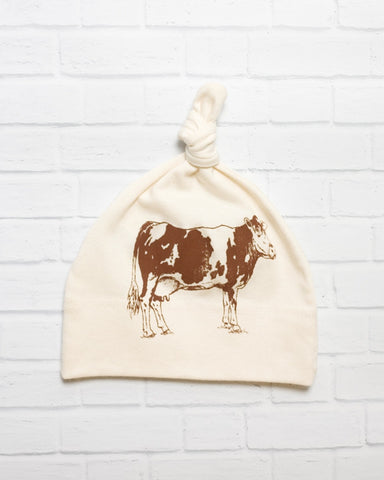 Brown Cow Top Knot Infant Hat