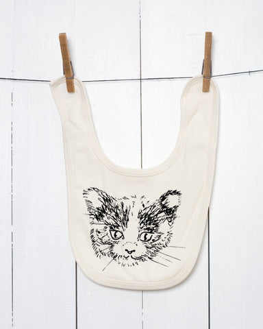 Cat Face Organic Cotton Baby Bib