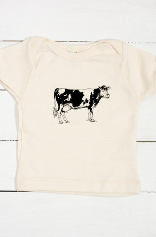 Cow Organic Cotton Infant Lapover T Shirt