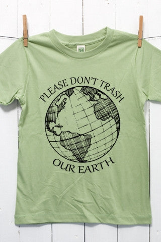 Please Don't Trash Our Earth Children's Youth Organic Cotton T Shirt