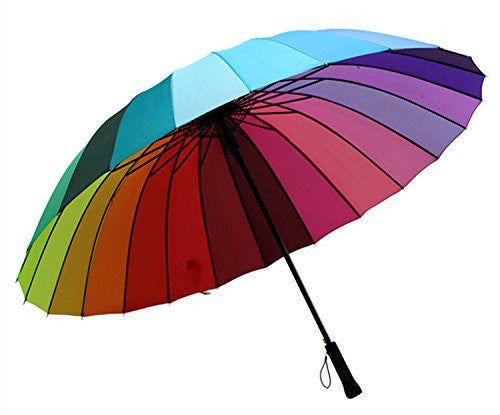 58b5eec6b1205 Home Top Quality 24k Color Rainbow Fashion Long Handle Straight SunRain  Stick Umbrella Manual Paraso-
