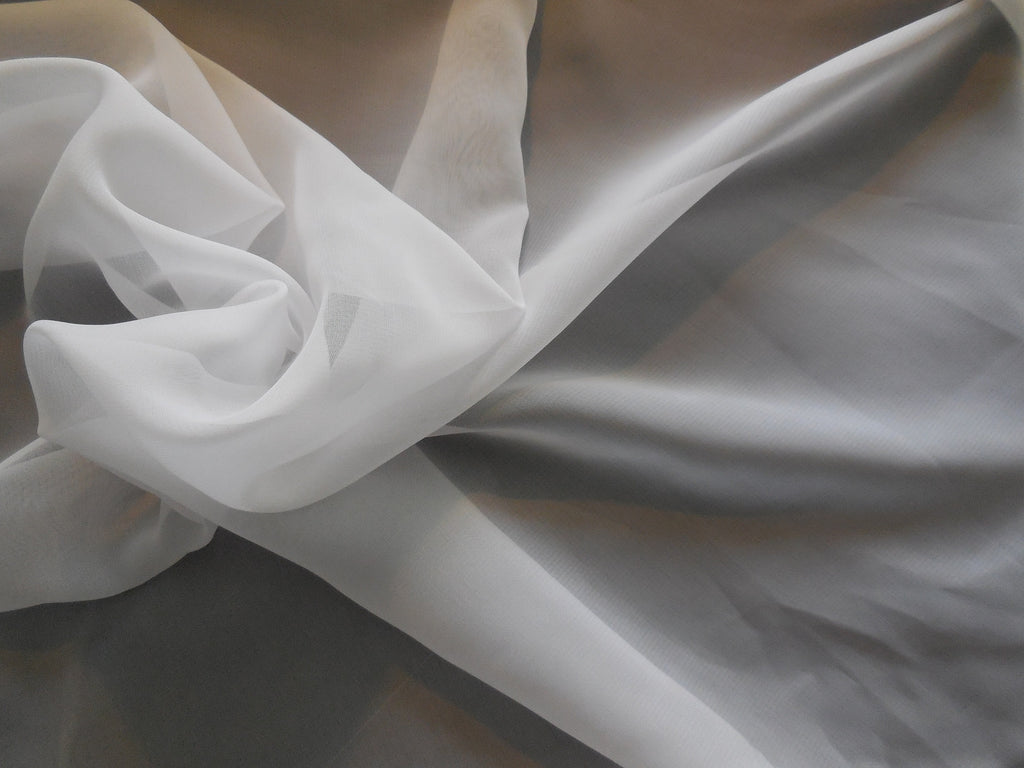 White Premium Chiffon Fabric / Polyester bridal wedding chiffon fabric Clothing sewing DIY is for sale. Sold by Per 0.5Meter