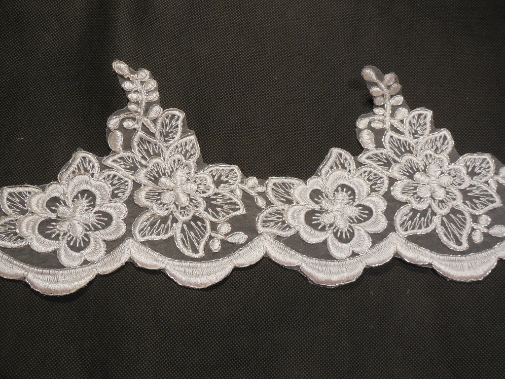 White & Silver cords Floral lace trim/ Bridal Wedding lace trim. sold by Per Yard