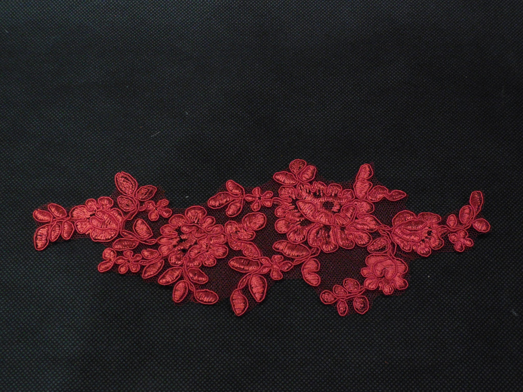 A Red bridal cord floral lace Applique / red shoes lace motif is for sale. Sold by piece