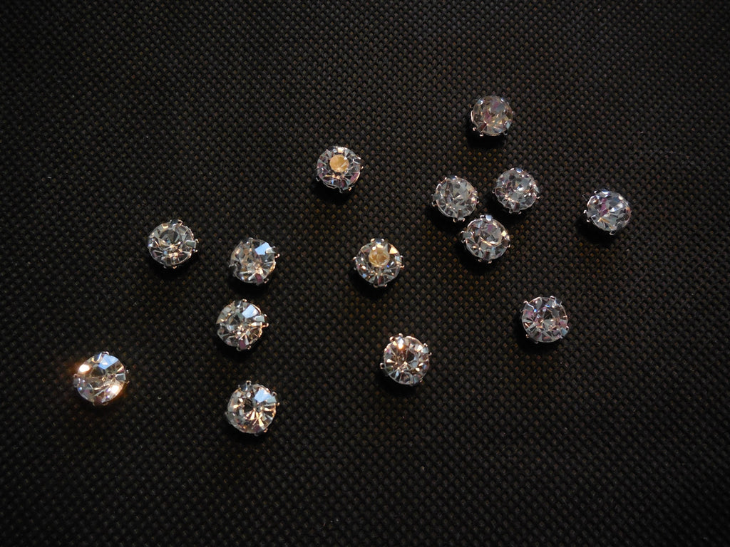 20pcs Silver sew on Rhinestones Bridal Wedding Sewing beads Any purpose diy 8mm
