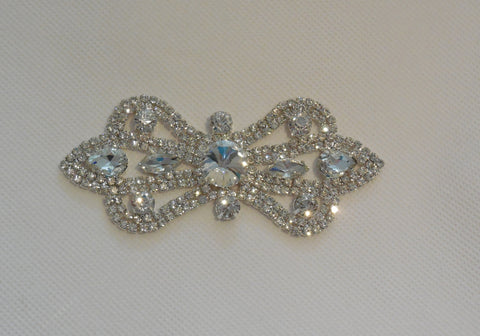 Bridal wedding rhinestones applique beaded rhinestones motif diamante applique is for sale.