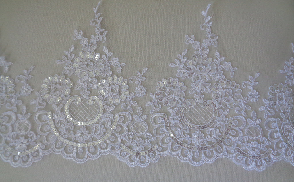 white sequined floral lace trim bridal wedding sequins lace trim sold by Per Yard 90cm