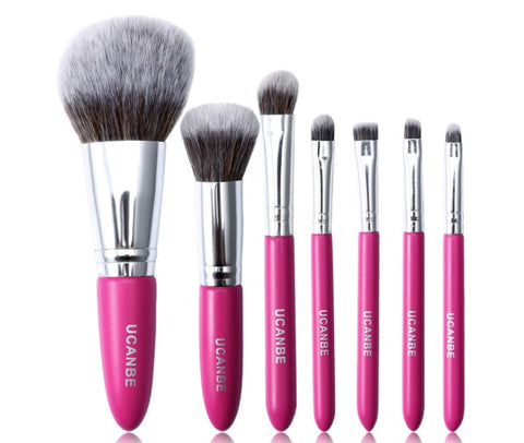 UCANBE mini pink 7 makeup brushes set Cosmetic foundation blending powder brush