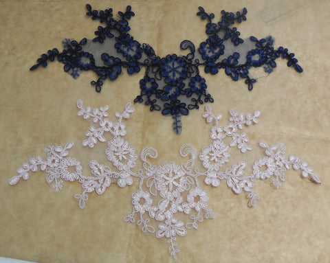 Blush pearls corded lace flower applique pink floral cotton