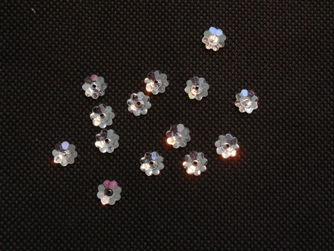 10pcs Flat base floral Silver sew on acrylic glass rhinestone Any purpose diy7mm