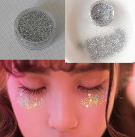 A silver fine dust glitter powder nails art Festival eye shadows art glitter makeup