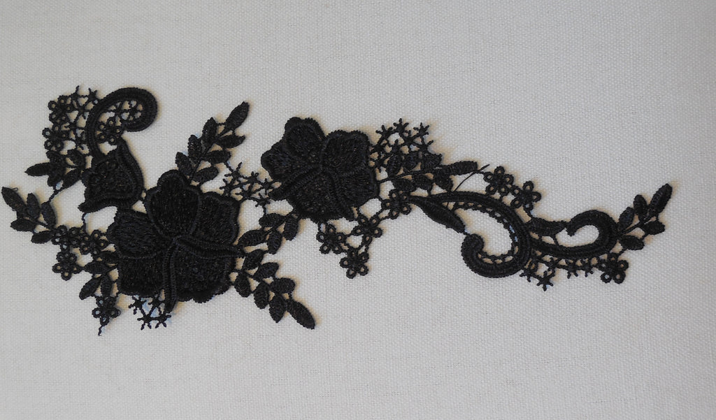 black floral lace applique sew on black cotton flower lace motif patch for dress sewing per piece