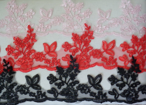 baby pink or red or black floral tulle lace trim sewing embroidered lace trim is for sale. sold by Per Yard 90cm