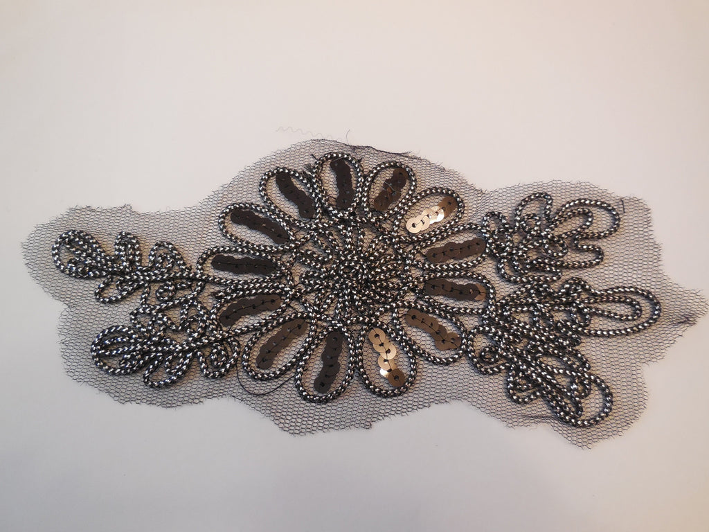 Black & silver cords floral sequins tulle lace Applique / lace motif for sale. 18x7.5cm. Sold by piece