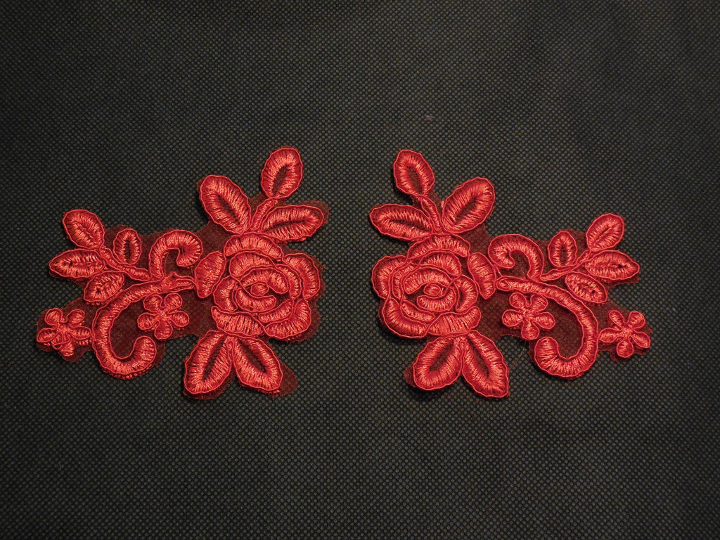 A Pair of Red floral lace Appliques / lace motifs is for sale 10cmx7.7cm