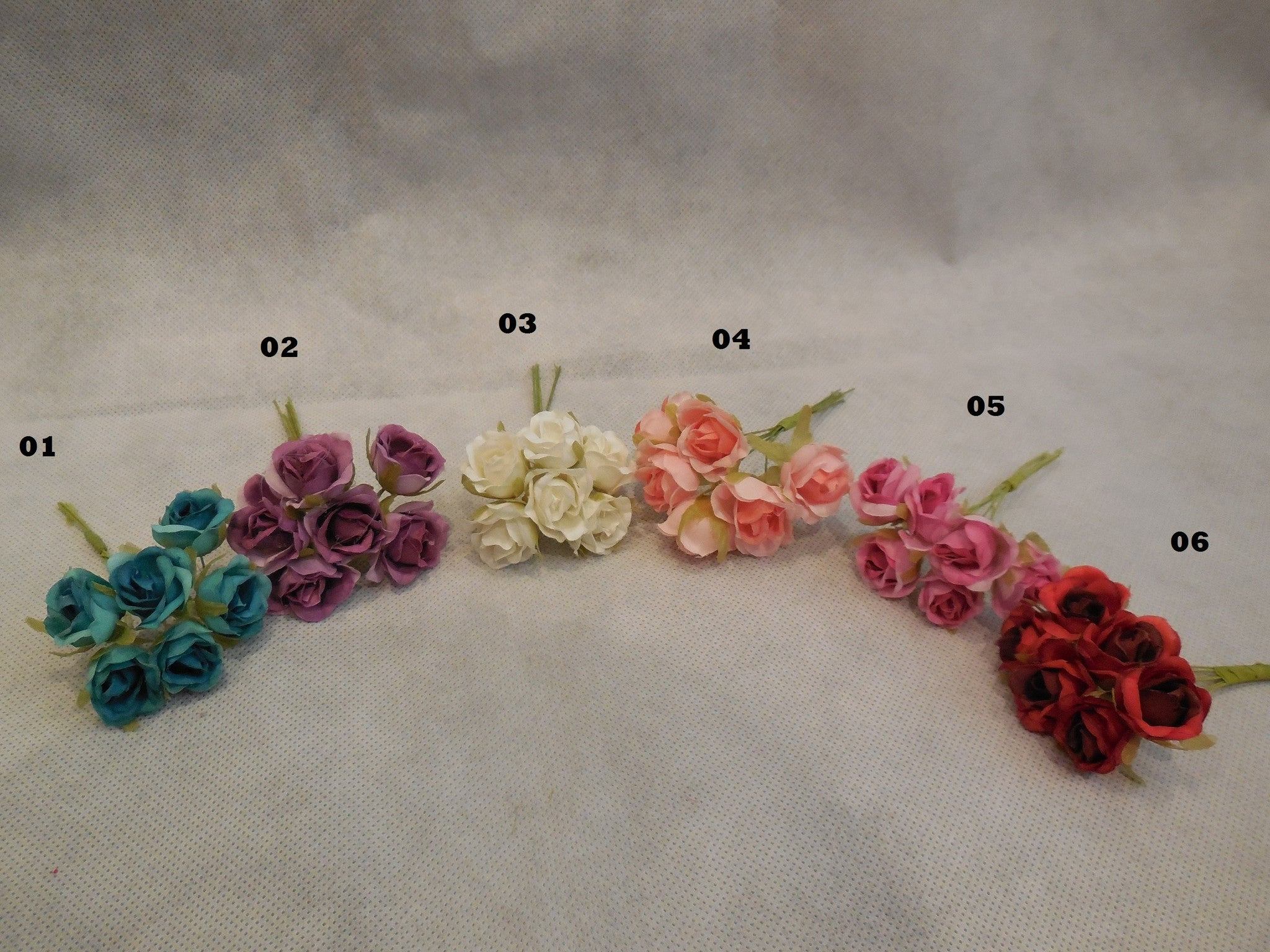 6 Mini Fabric Rose Wire Stems For Wedding Bridal Crown Craft 6colour Craftuneed