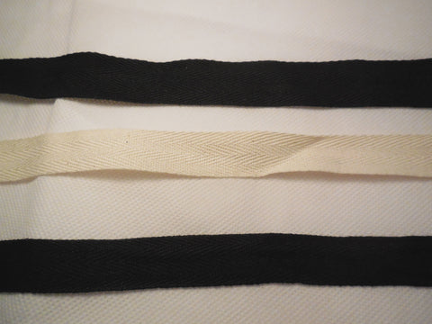 Ivory or Black Plain Cotton Linen Blend Fabric Ribbon / Blank Sewing Label Per M