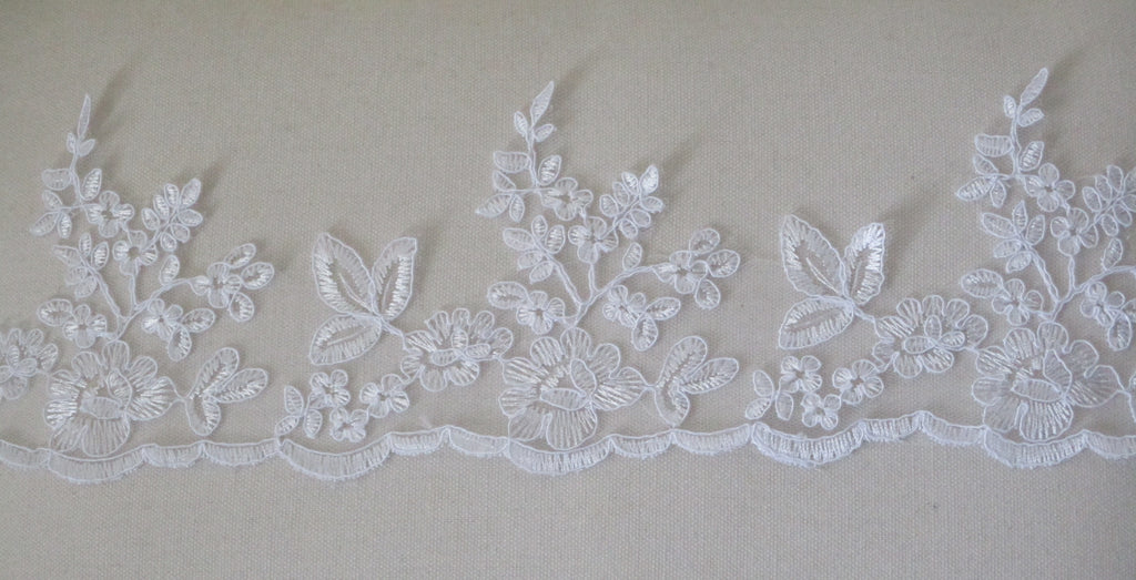white floral tulle lace trim bridal wedding white embroidered lace trim is for sale. sold by Per Yard 90cm.