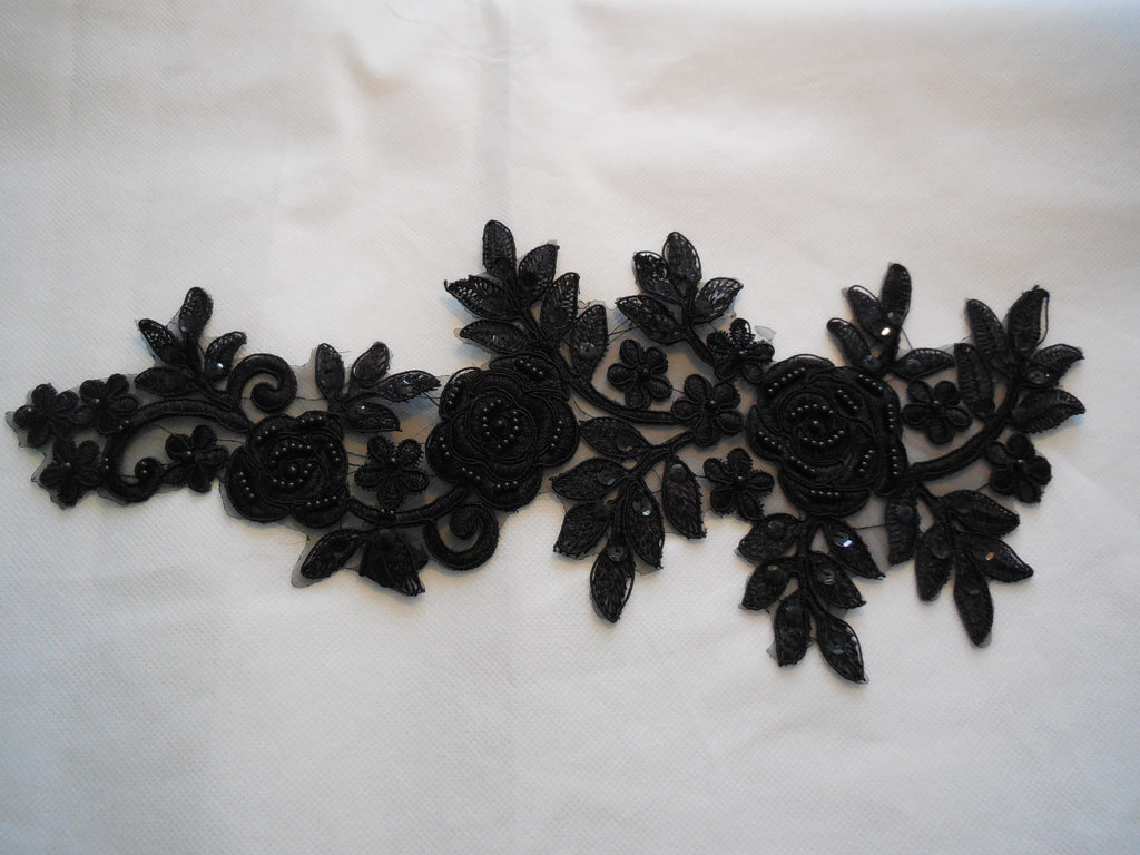 Large piece Black beaded sequins lace Applique/floral lace motif.38.5x16cm piece