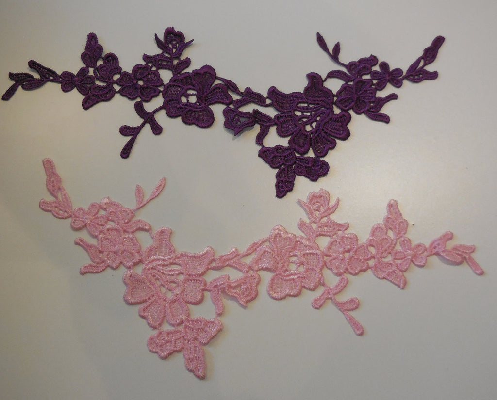 Pink OR Purple floral lace Applique / decorative sewing lace motif is for sale.