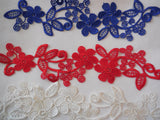 Off white or blue or red floral lace applique / dress making sewing lace motif