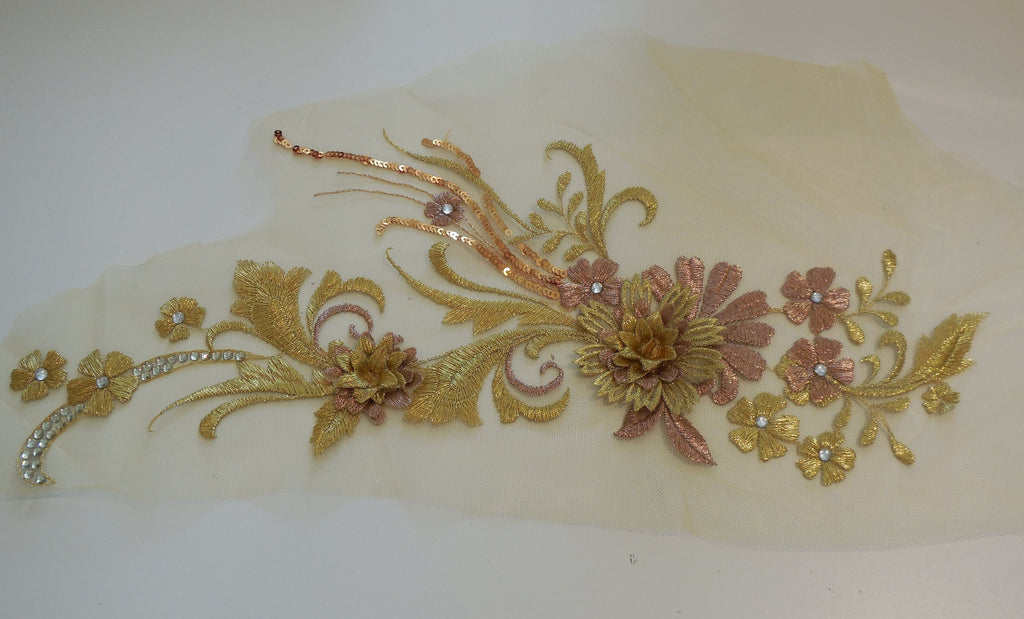 A large piece of gold & rose champagne beaded floral lace applique / lace motif is for sale.  sold by per piece