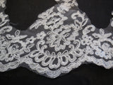 Ivory floral lace trim sew on bridal wedding embroidered tulle dress trimming