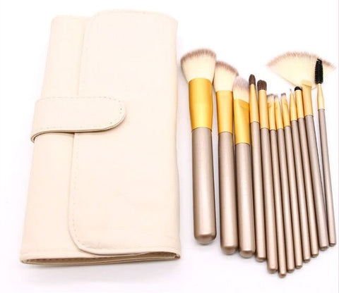 Professional 12 pcs foundation makeup powder brushes set with faux leather bag
