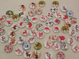 10pcs Christmas Themes Round Wood sew on Children clothes buttons sewing DIY 2cm