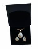 Craftuneed women gold colour crystal gemstone necklace & earrings gift set