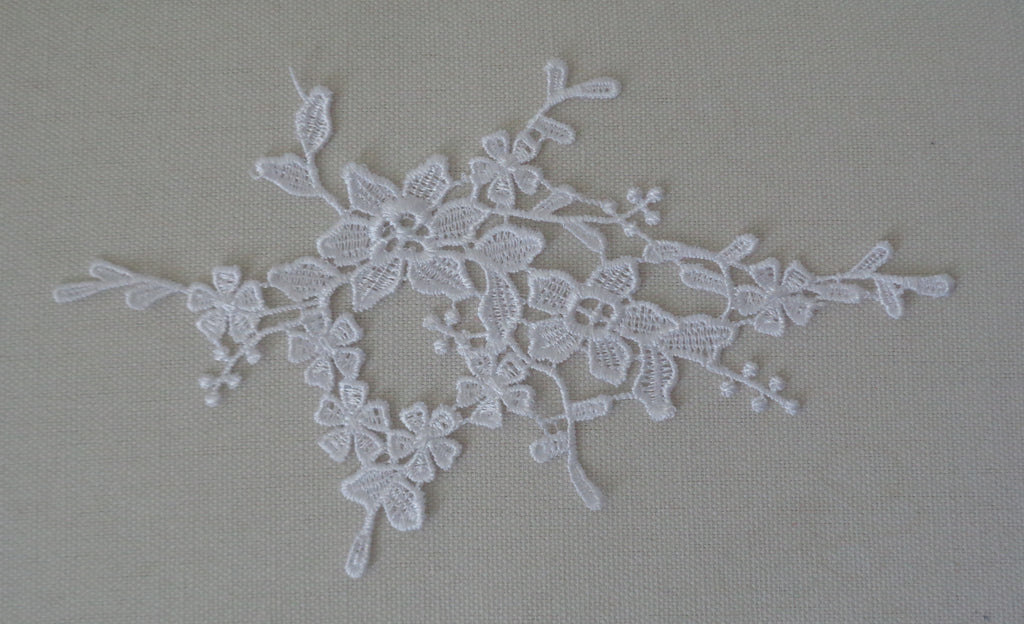 White bridal wedding floral lace Applique / white cotton lace motif is for sale. sold by per piece