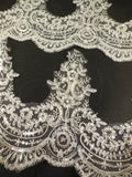 white or ivory floral sequins eyelash lace trim Bridal wedding tulle sequined lace trim is for sale. Sold by Per Yard  90cm.