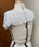 dark ivory or off white cotton crochet lace collar motif applique sewing lace collar patch front & back side Per piece