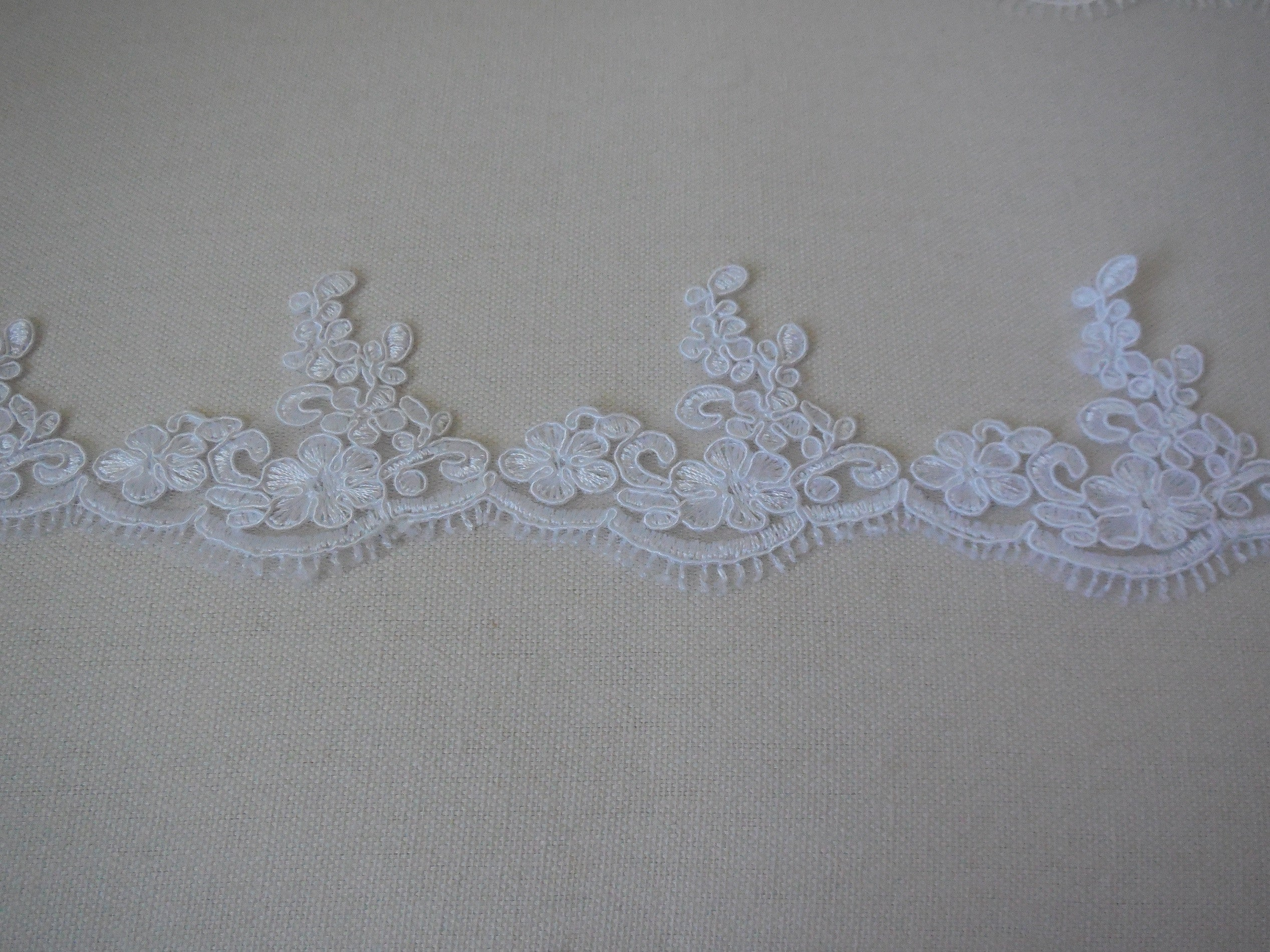ivory floral tulle lace trim bridal wedding ivory embroidered lace trim Per yard