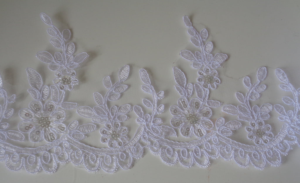 Bridal Wedding white sequins floral lace trim / white sequined tulle lace trim is for sale. Sold by Per Yard  90cm