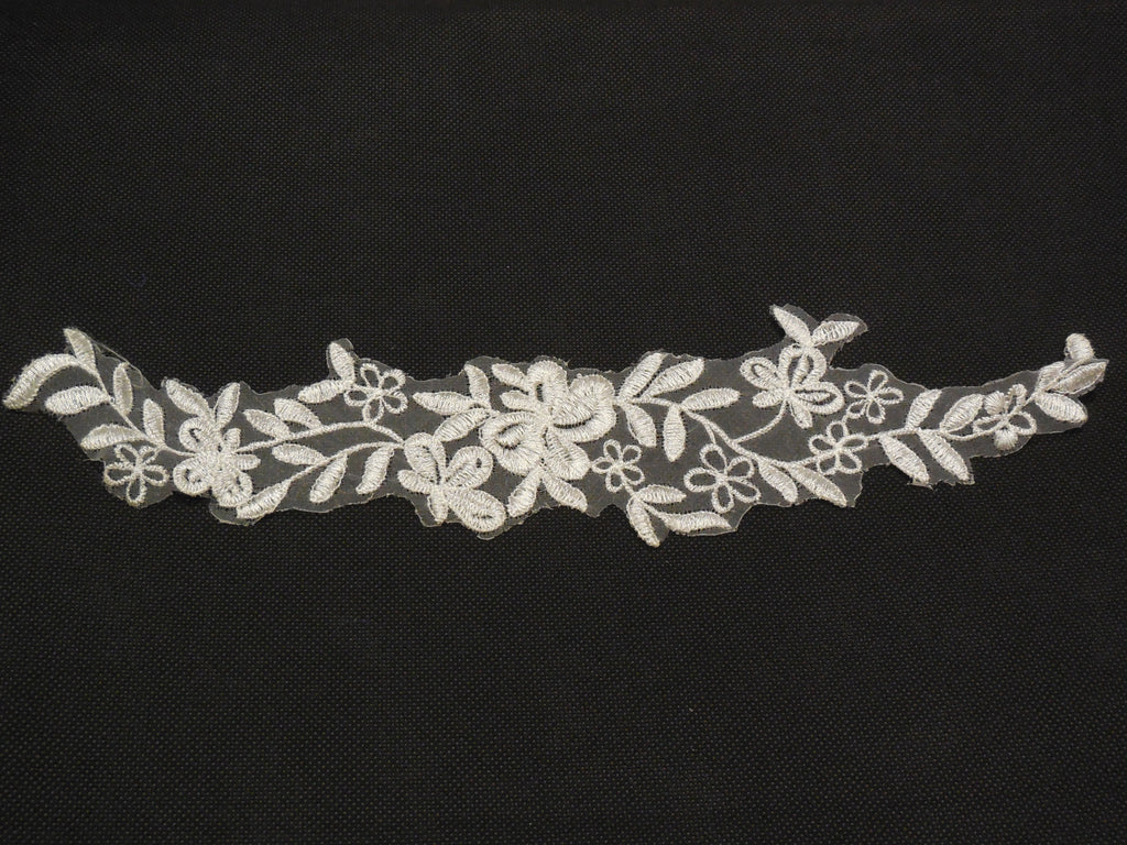 off white bridal wedding floral organza lace applique / off white organza lace motif is for sale. sold by per piece