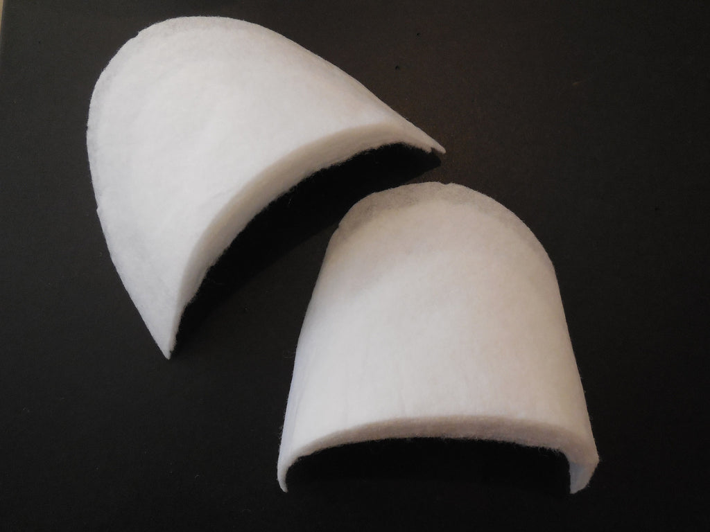 1 Pair white cotton shoulder pads insert suits sew in shoulder pads in arc shape