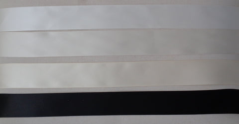 black or ivory or satin double faced side satin ribbon sash in 3.8cm width. Sold by Per Meter