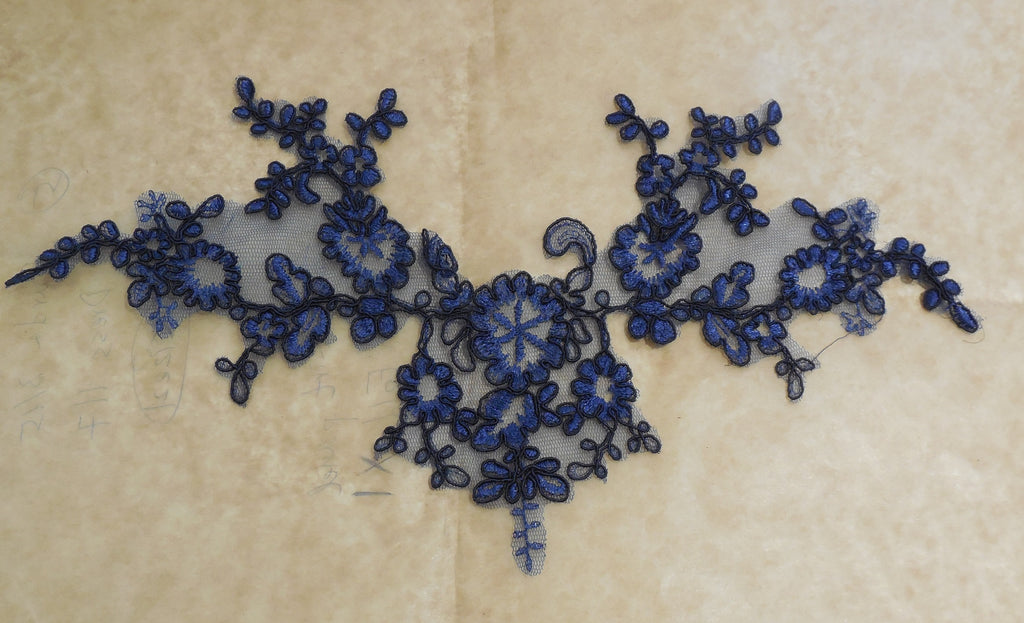 A baby pink or navy blue floral lace applique tulle lace motif is for sale. By piece