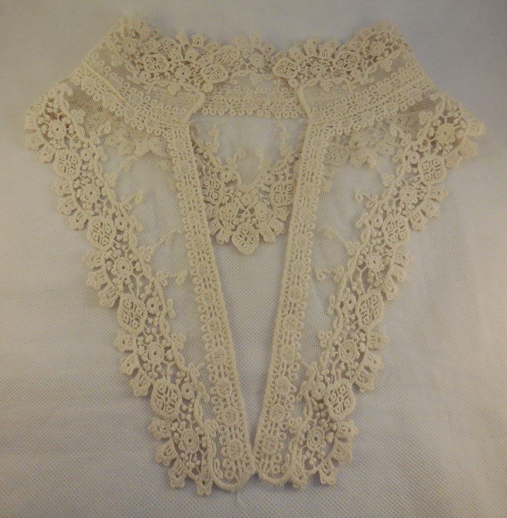 ivory floral cotton lace embroidered collar applique vintage style collar motif