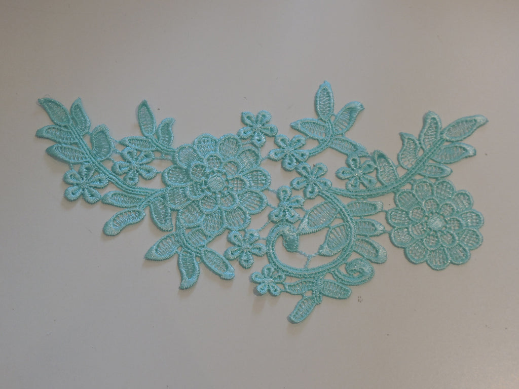 green blue floral lace applique / dress sewing cotton lace motif is for sale . By piece