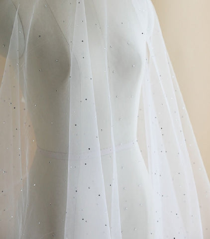 bridal wedding crystal clear colour rhinestones gems ivory tulle fabric sold by Per 0.5 Meter