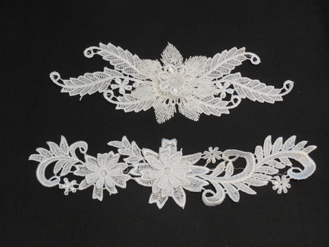 3D floral layers bridal wedding ivory lace applique / dress lace motif By piece