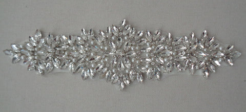 A large piece of Bridal wedding rhinestones applique beaded rhinestones motif diamante applique is for sale. sold by per piece
