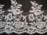 ivory floral tulle lace trim / dress hemming ivory floral lace trim 8-16cm width .Per Yard