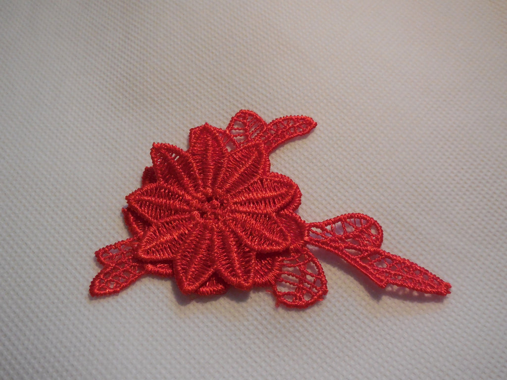 Small red or off white double layer flower lace patch sew on floral lace applique motif